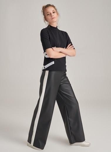 People By Fabrika Kenarı Şerit Detaylı Suni Deri Pantolon Siyah